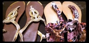 "Patterned Cloth and Gold ""rope"" sandals"